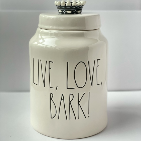 """Rae Dunn LL Black """"Live, Love, Bark!"""" Canister Jar"""